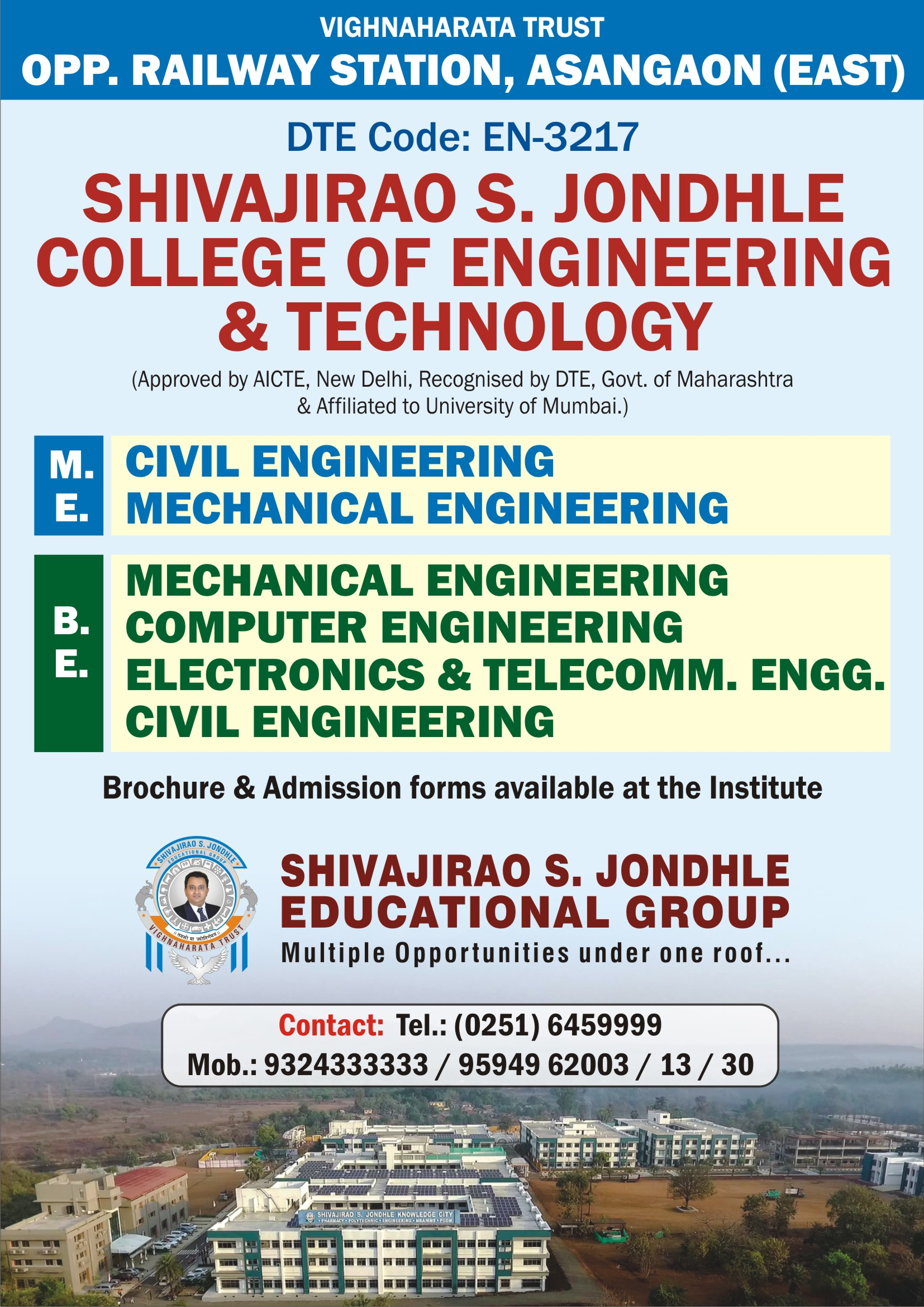 Shivajirao  S  Jondhle College of Engineering & Technology, Asangaon